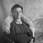 Gertrude Hayward Wright with a fur neck piece