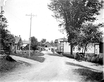 Londonderry, Vermont (Main Street looking east across the iron bridge toward the center of town)